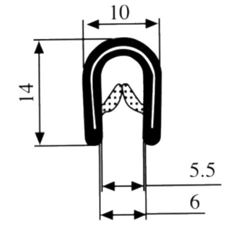 BBA klemprofiel 2-5mm zwart (1m)
