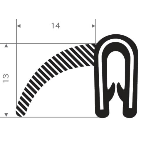 BBA mosrubber/PVC afwerkprofiel 22x13mm (1m)